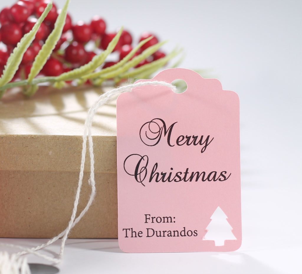 Customized Happy Holidays Gift Tags with Christmas Tree in Light Pink 10pc