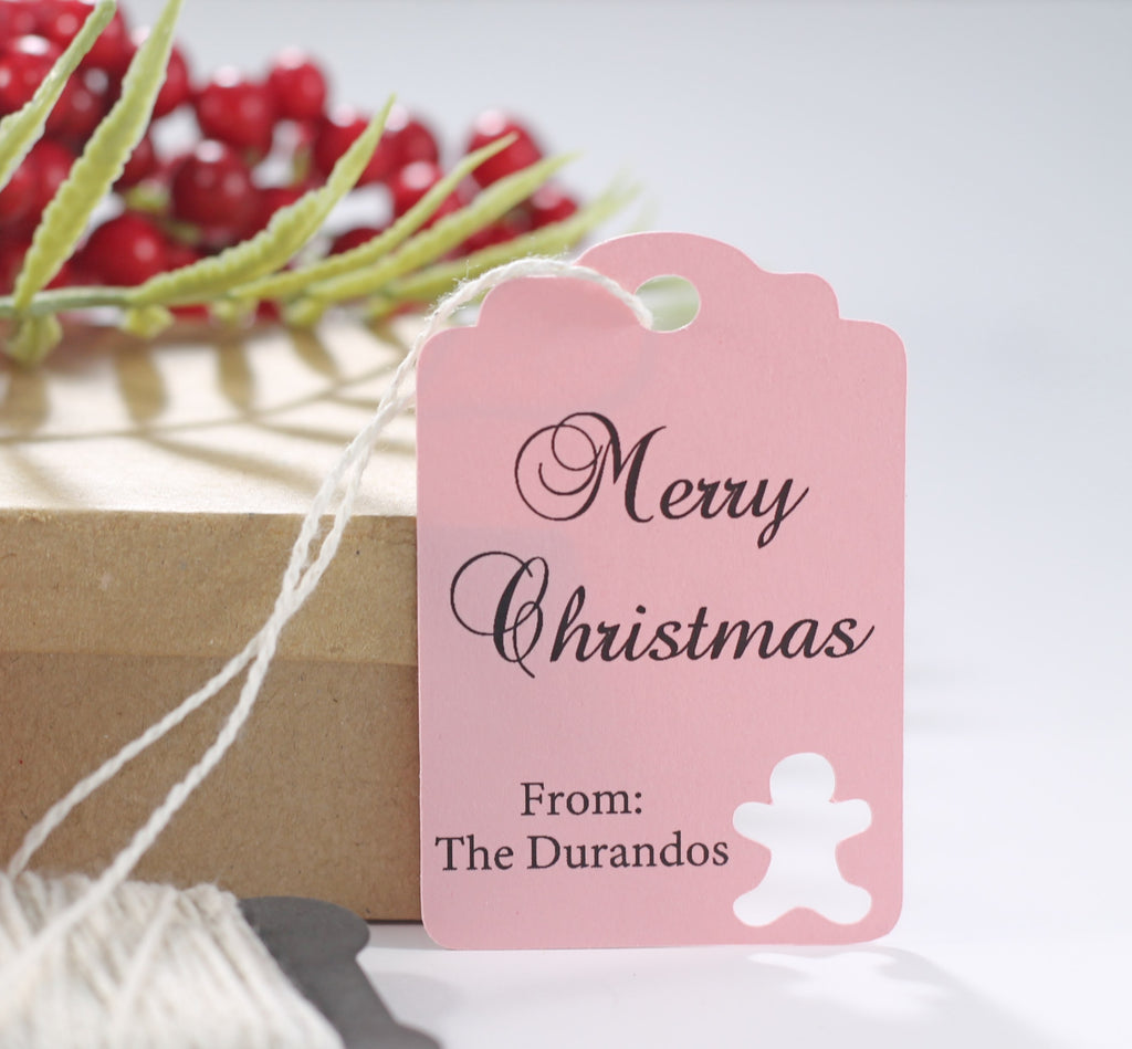 Customized Happy Holidays Gift Tags with Gingerbread Man in Light Pink 10pc-Christmas Tags-The Paper Medley