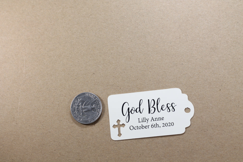 Small Baptism Tags - God Bless - Cream - 20pc-Baptism Favor Tags-The Paper Medley