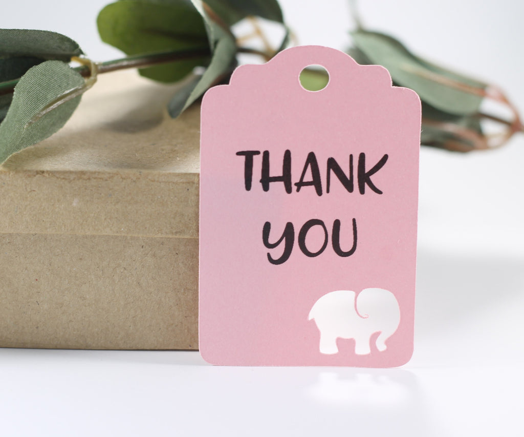Baby Shower Tags with Elephant - Thank You - Light Pink - 20pc-Baby Shower Tags-The Paper Medley