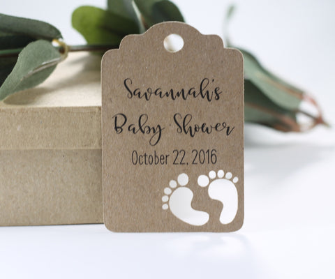 Custom Kraft Brown Baby Shower Tags with Feet Tags Set of 20 - The Paper Medley