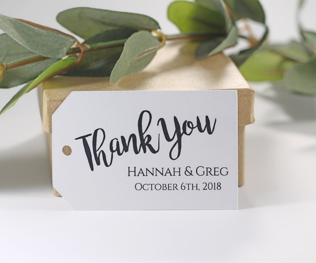 Custom Wedding Tags - Thank You - White - 20pc-Wedding Tags-The Paper Medley