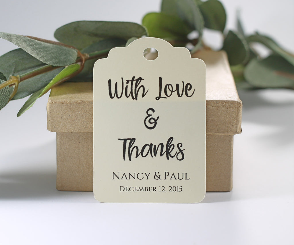 Personalized Wedding Tags- With Love and Thanks - Cream - 20pc-Wedding Tags-The Paper Medley