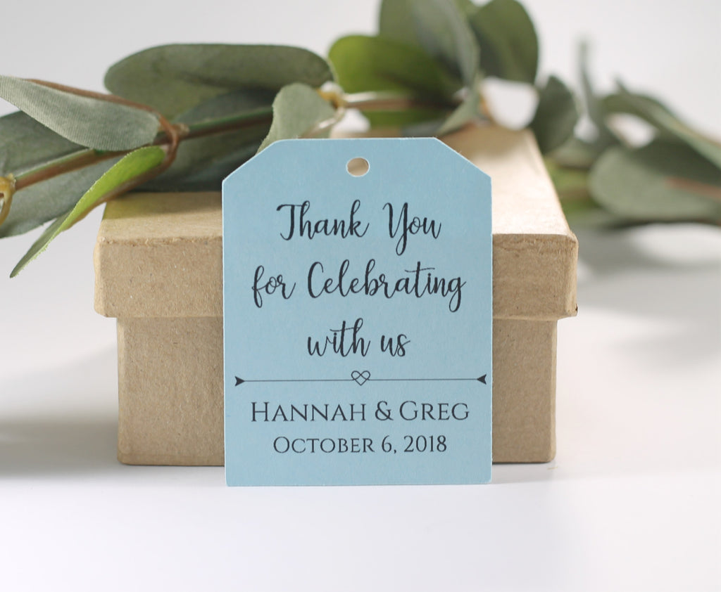 Personalized Wedding Tags - Thank You for Celebrating With Us - Light Blue - 20pc-Wedding Tags-The Paper Medley