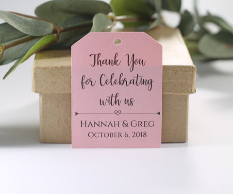 Light Pink Wedding Thank You Gift Tags - Thank You for Celebrating With Us (Set of 20) - The Paper Medley