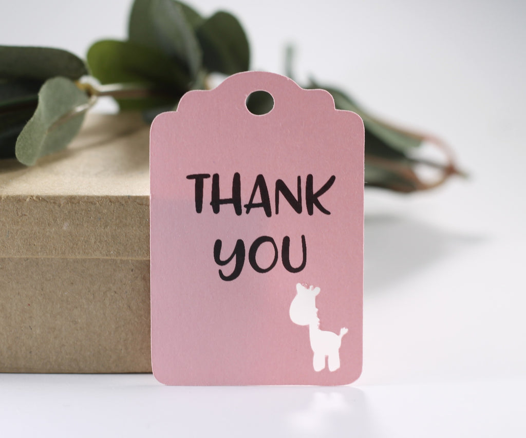 Light Pink Giraffe Party Tags with Thank You Set of 20-Party Tags-The Paper Medley