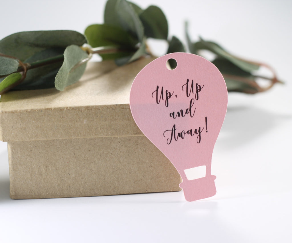 Baby Shower Tags - Light Pink - Hot Air Balloon Set of 20-Baby Shower Tags-The Paper Medley