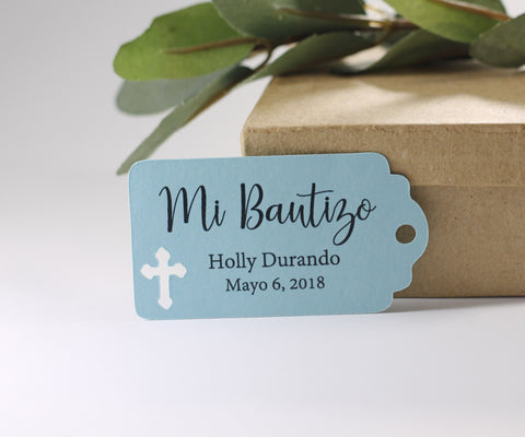 Light Blue Mi Bautizo Thank You Favors Set of 20 - The Paper Medley
