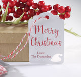 Personalized Merry Christmas Gift Tags with Santa Hat in Red and White 10pc-Christmas Tags-The Paper Medley