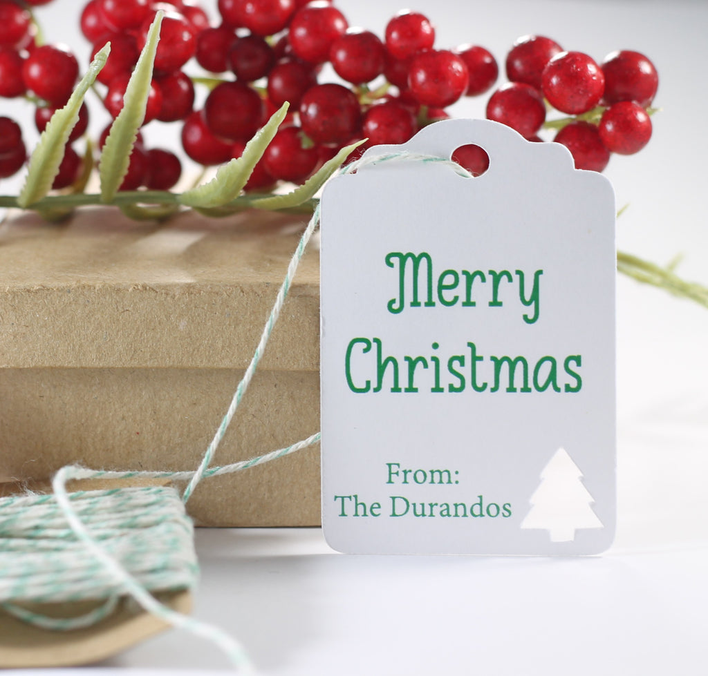 Personalized Merry Christmas Gift Tags with Tree in Green and White 10pc-Christmas Tags-The Paper Medley