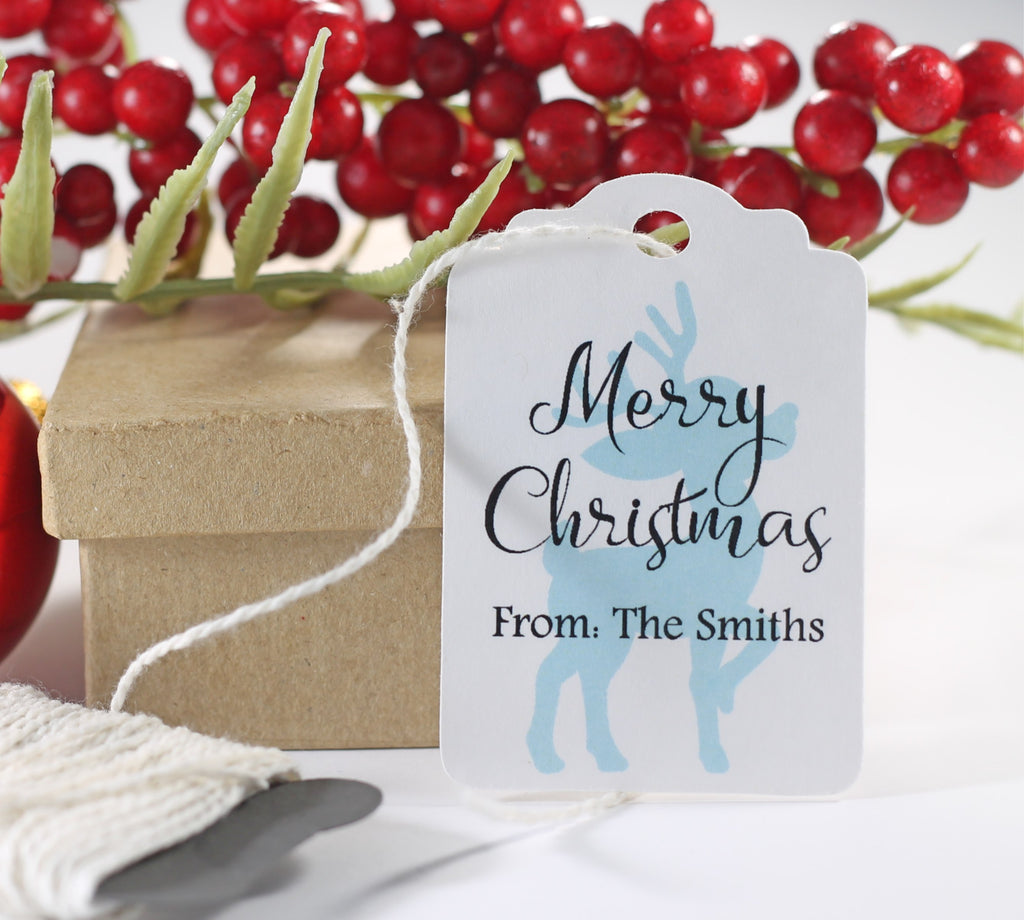 Personalized Merry Christmas Gift Tags with Blue Reindeer 10pc-Christmas Tags-The Paper Medley