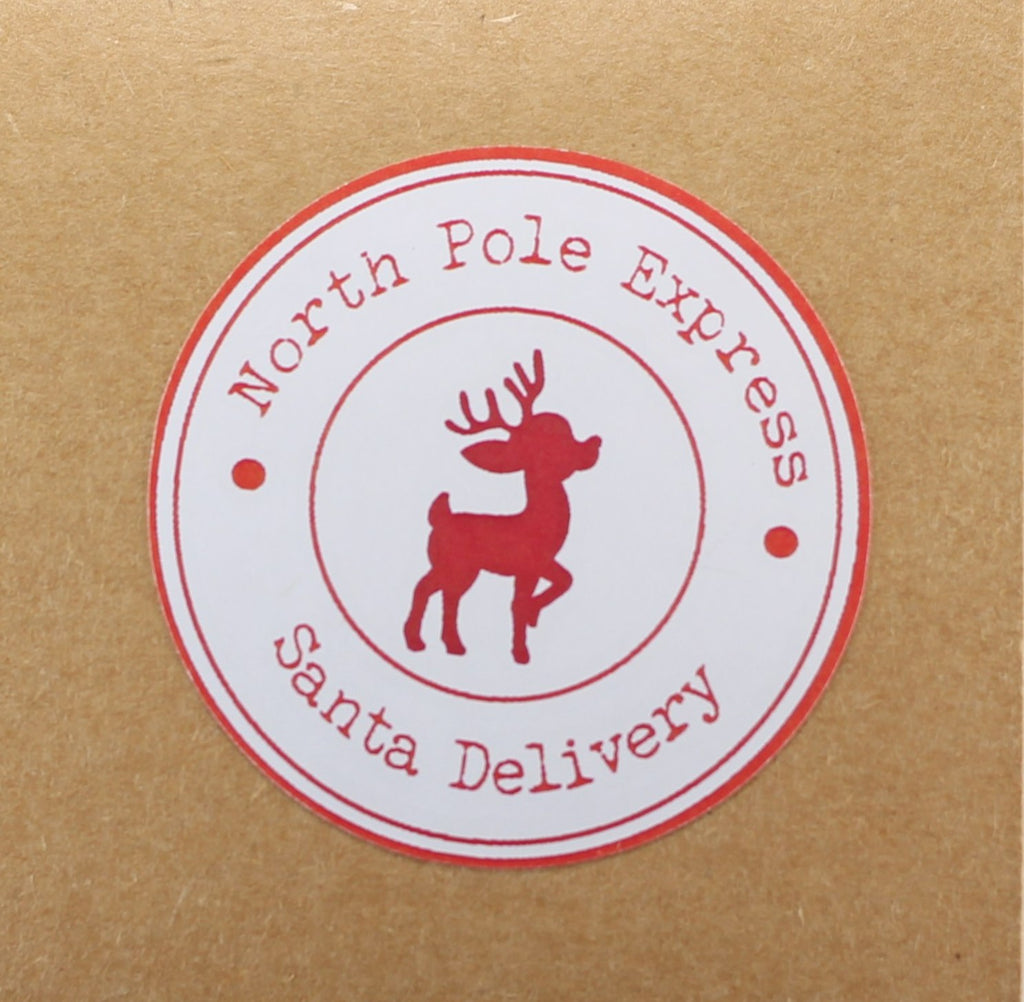 North Pole Express Stickers - Christmas Labels Set of 12