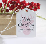 Personalized Merry Christmas Gift Tags with Pink Reindeer 10pc-Christmas Tags-The Paper Medley