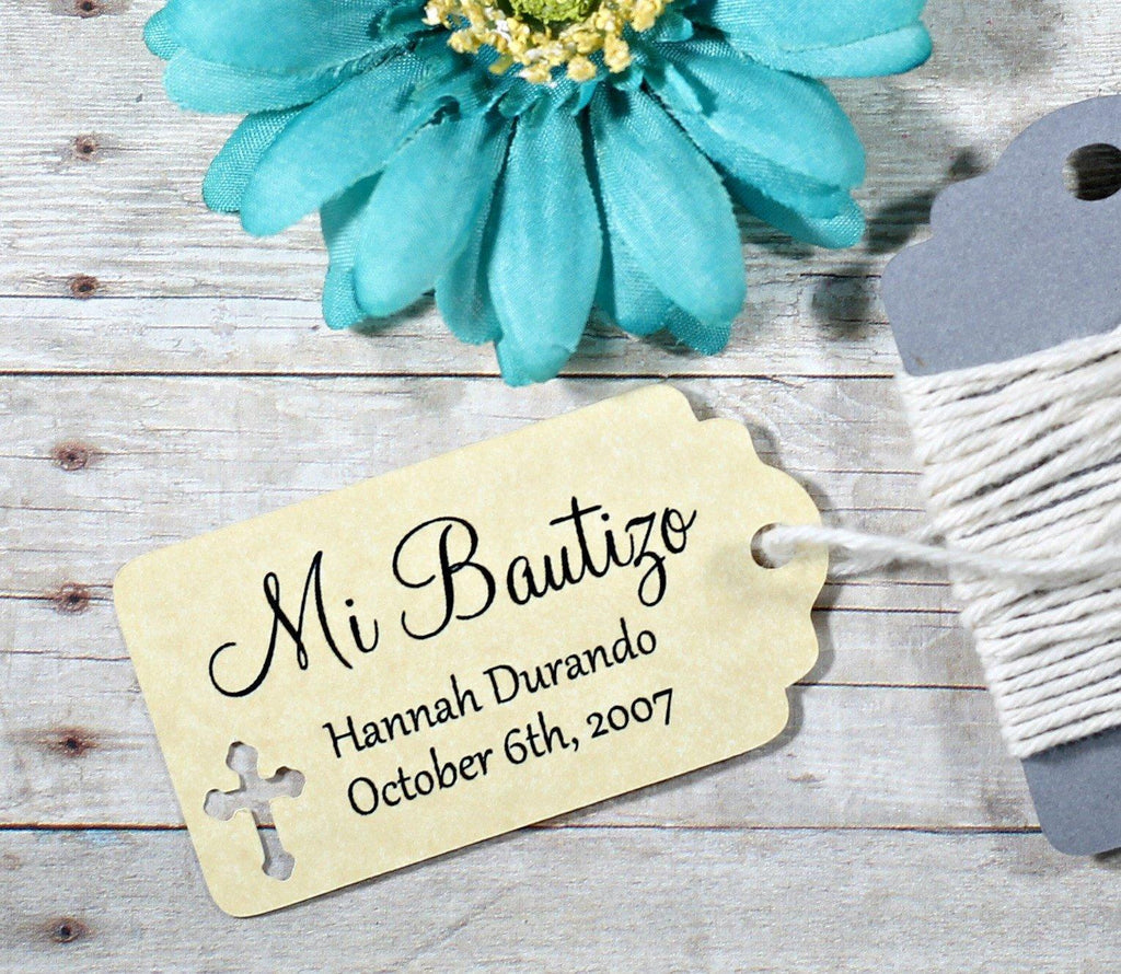 Small Baptism Tags - Mi Bautizo - Antique Gold - 20pc-Baptism Favor Tags-The Paper Medley