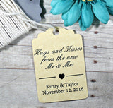 Personalized Wedding Tags - Hugs and Kisses - Antique Gold - 20pc-Wedding Tags-The Paper Medley