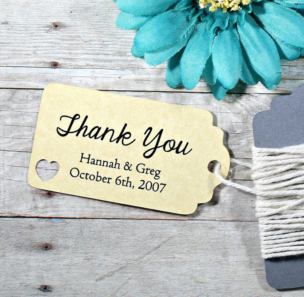 Small Custom Wedding Tags with Heart - Thank You - Antique Gold - 20pc-Wedding Tags-The Paper Medley