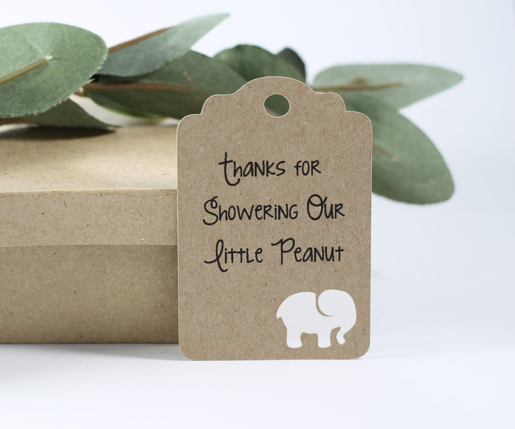 Baby Shower Tags with Elephant - Thanks for Showering Our Little Peanut - Kraft Brown - 20pc-Baby Shower Tags-The Paper Medley
