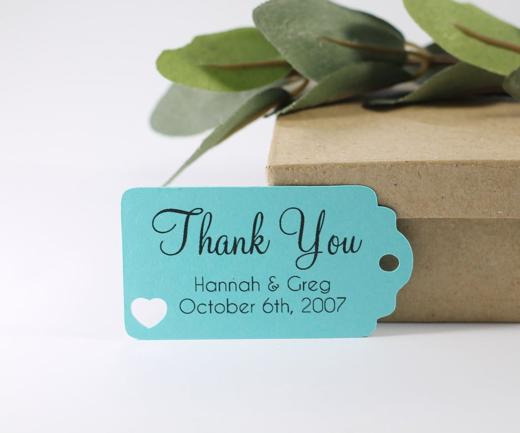 Small Personalized Wedding Tags - Thank You - Aqua - 20pc-Wedding Tags-The Paper Medley