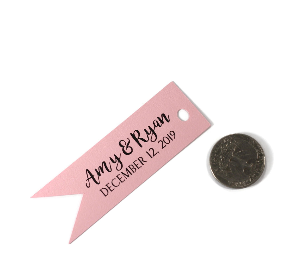 Personalized Wedding Tags - Flag Shape - Light Pink - 20pc-Wedding Tags-The Paper Medley