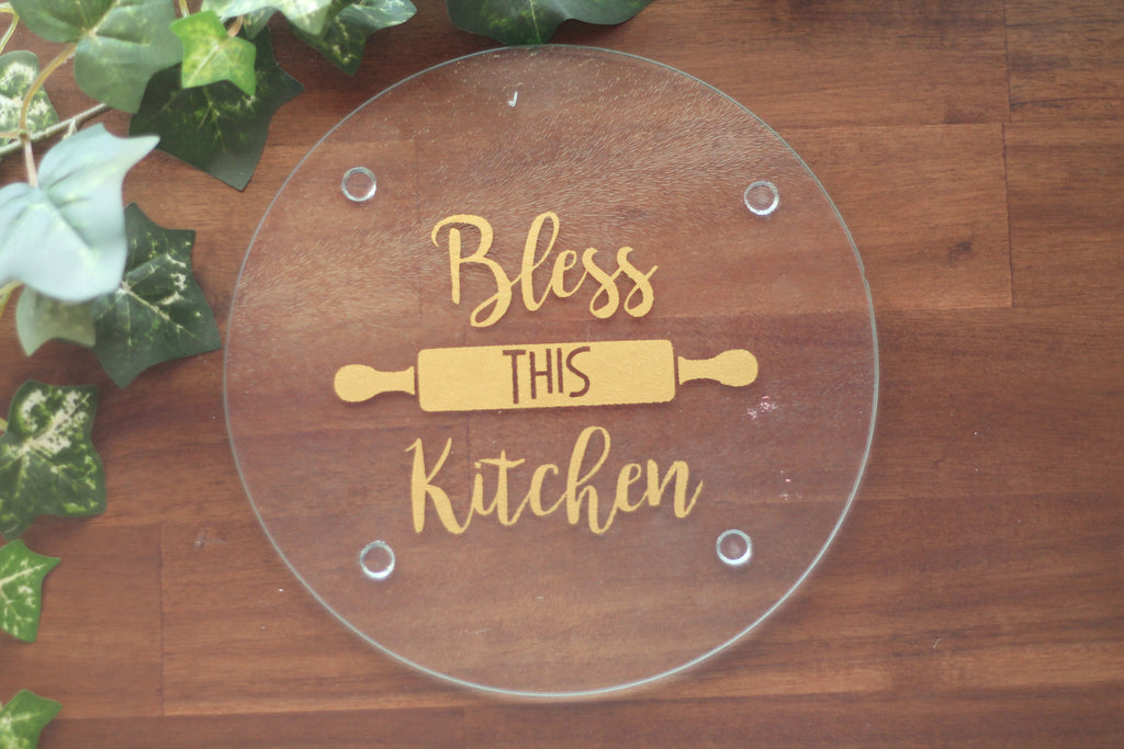 Bless This Kitchen Round Cutting Board-Cutting Board-The Paper Medley