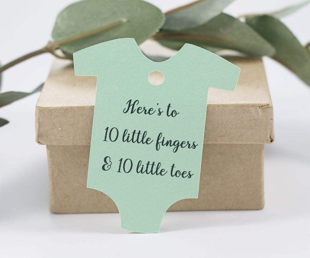 Light Green One Piece Tags - Here's to 10 Little Fingers and 10 Little Toes Set of 20