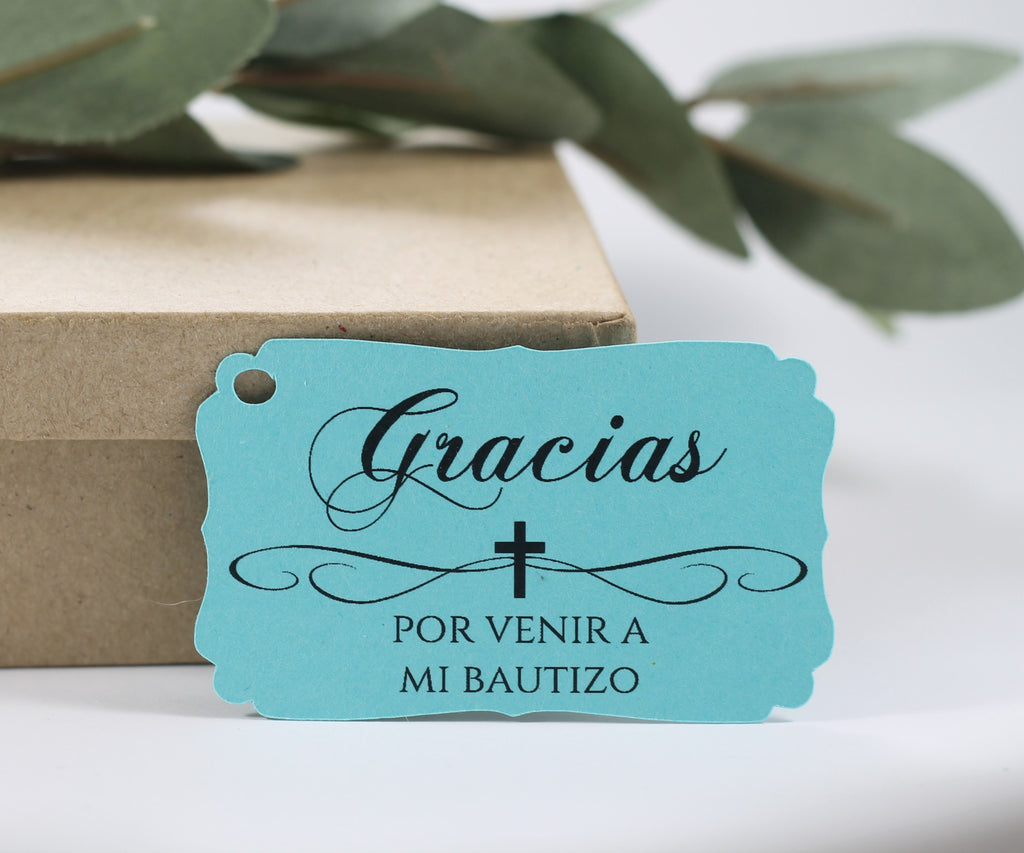 Mi Bautizo Tags in Aqua Set of 20