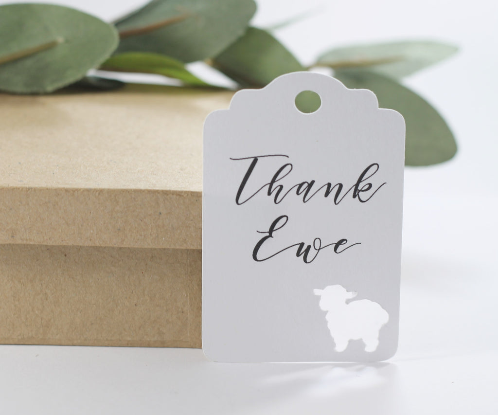 Baby Shower Tags - White Baby Shower Favor Tags with Thank Ewe Set of 20-Baby Shower Tags-The Paper Medley