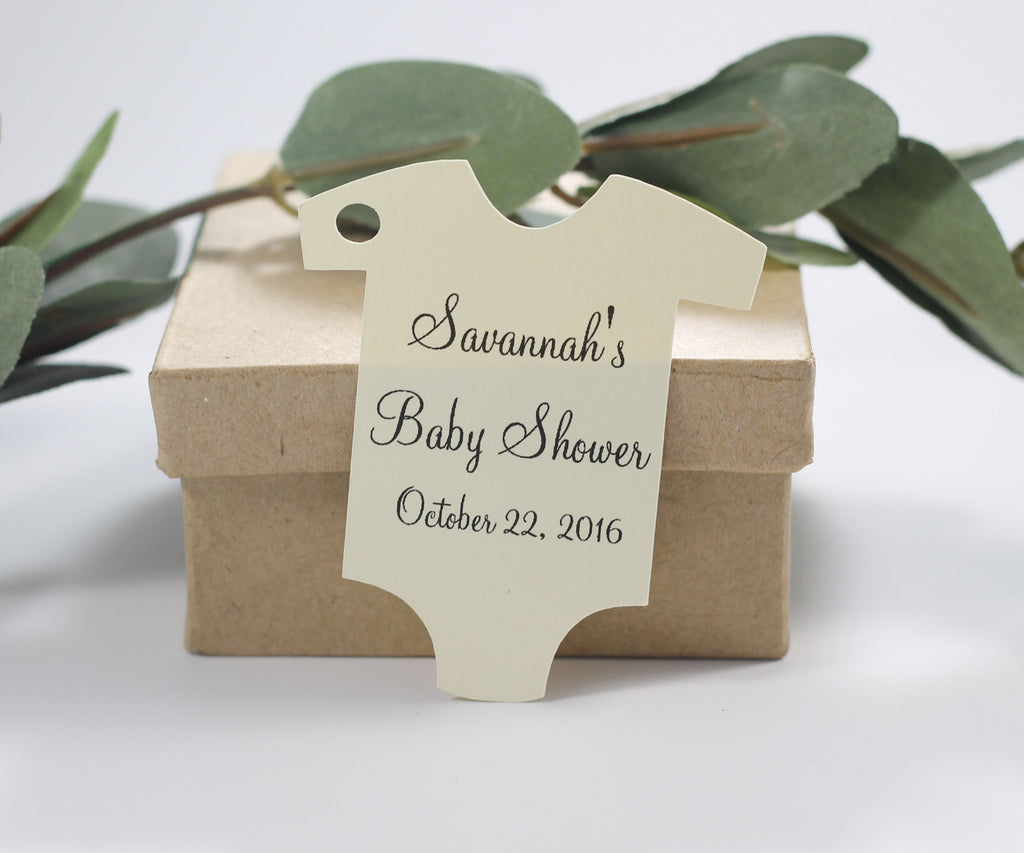 Custom Baby Shower Tags in One Piece Shape - Cream - Set of 20-Baby Shower Tags-The Paper Medley