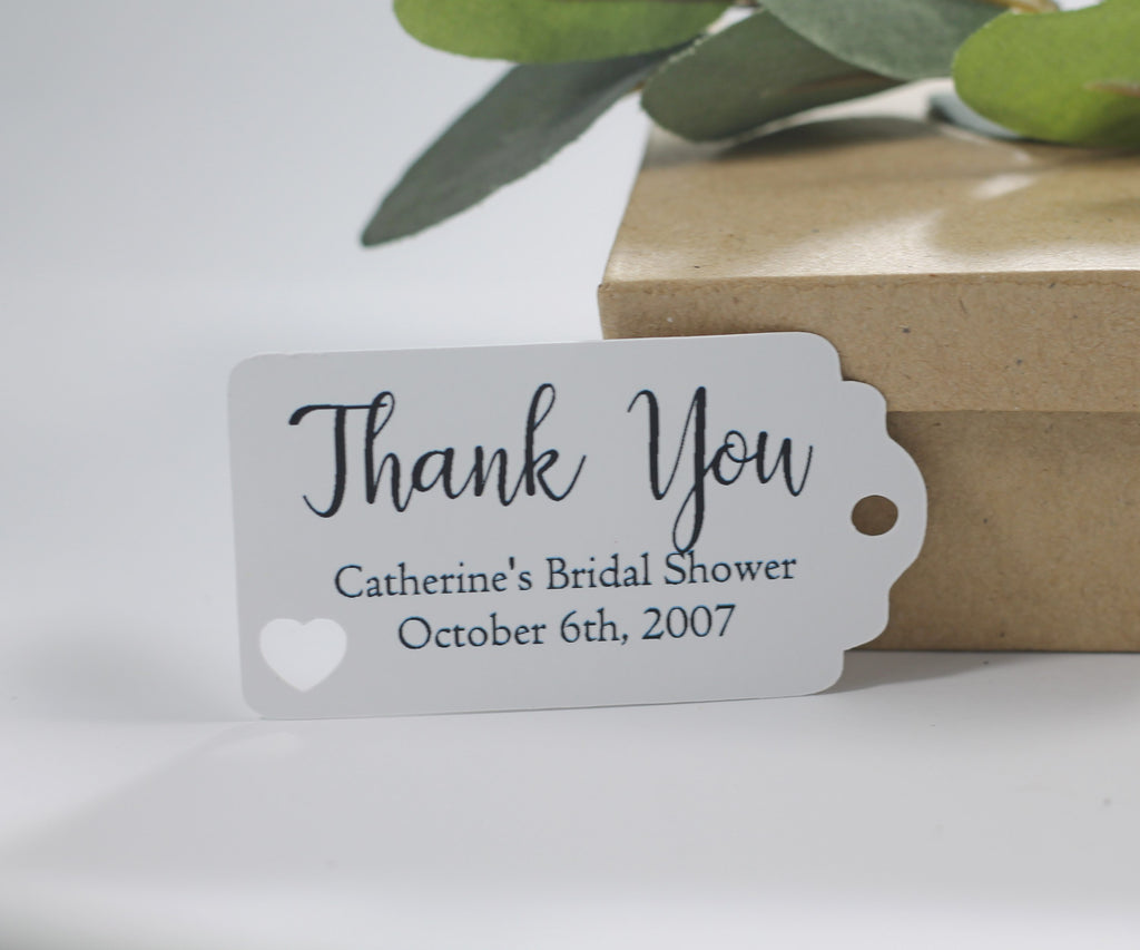 White Bridal Shower Thank You Favor Tags (Set of 20)-Bridal Shower Tags-The Paper Medley
