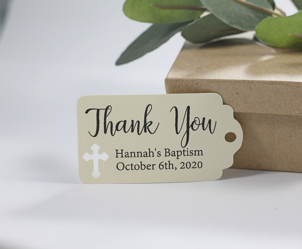 Small Baptism Tags - Thank You - Cream - 20pc-Baptism Favor Tags-The Paper Medley