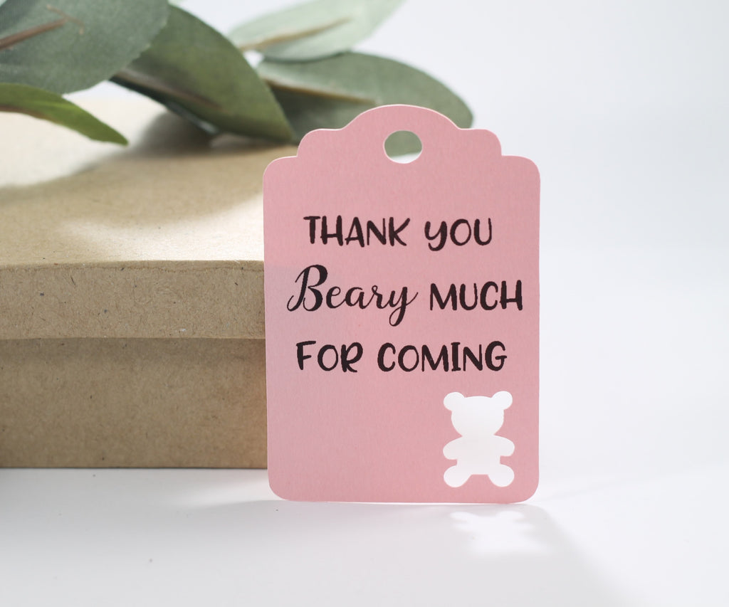 Baby Shower Tags with Bear - Thank You Beary Much for Coming - Light Pink - 20pc-Baby Shower Tags-The Paper Medley