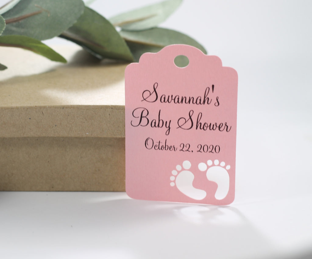 Custom Baby Shower Tags with Feet - Personalized Light Pink Baby Shower with Feet Tags - 20pc-Baby Shower Tags-The Paper Medley