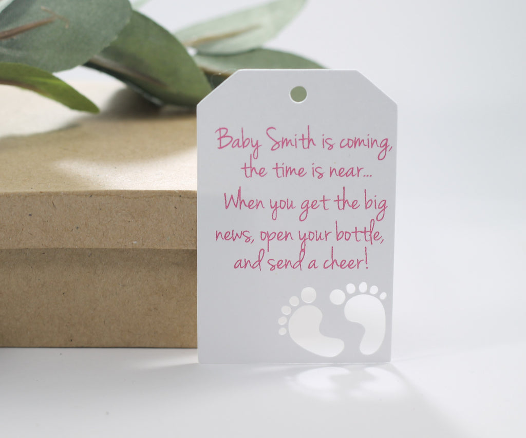 Baby Shower Tags with Feet with Feet - Baby is Coming - Pink Text- 20pc-Baby Shower Tags-The Paper Medley