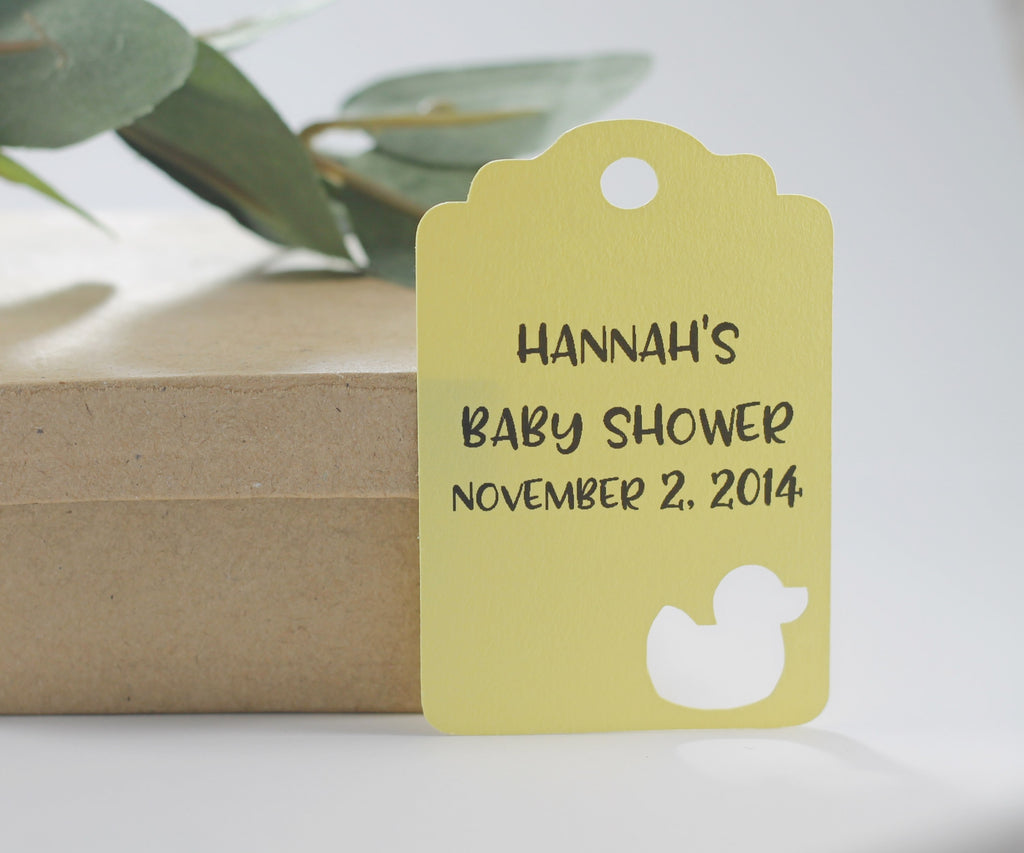 Custom Baby Shower Tags with Duck - Yellow - 20pc-Baby Shower Tags-The Paper Medley