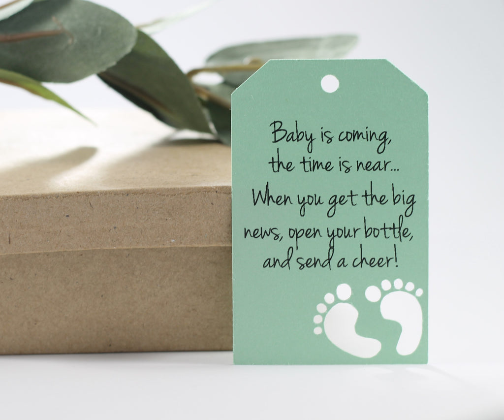 Baby Shower Tags with Feet with Feet - Baby is Coming - Light Green - 20pc-Baby Shower Tags-The Paper Medley