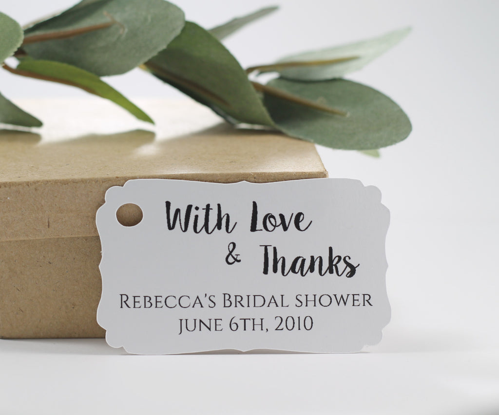 Personalized Wedding Tags - White Wedding Favor Tags With Love and Thnaks - 20pc-Wedding Tags-The Paper Medley