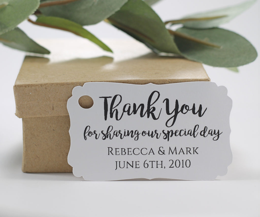 Personalized Wedding Tags  - Thank You for Sharing Our Special Day - White - 20pc