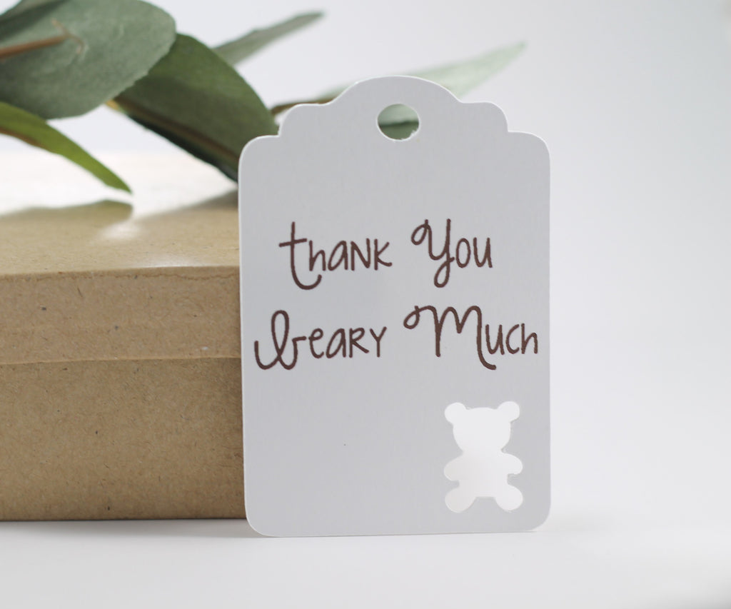 Baby Shower Tags with Bear - Thank You Beary Much - Brown Text - 20pc-Baby Shower Tags-The Paper Medley