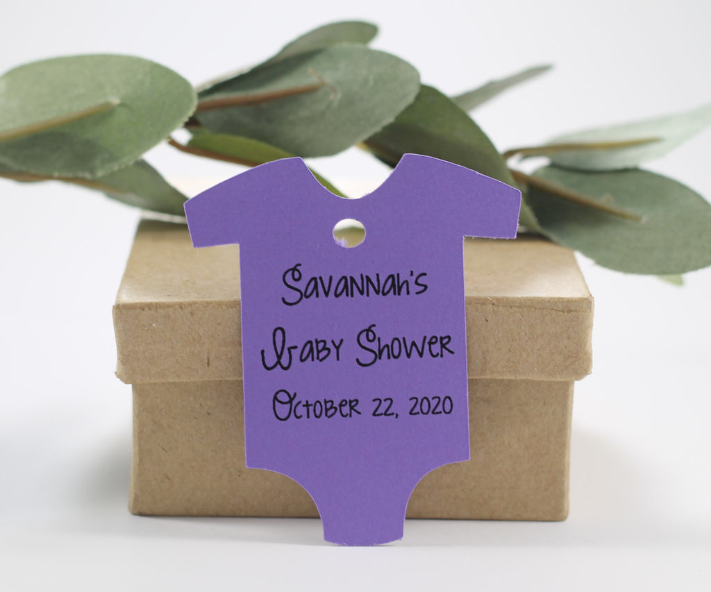 Custom Baby Shower Tags in One Piece Shape - Personalized Purple Baby One Piece Shower Tags - 20pc-Baby Shower Tags-The Paper Medley
