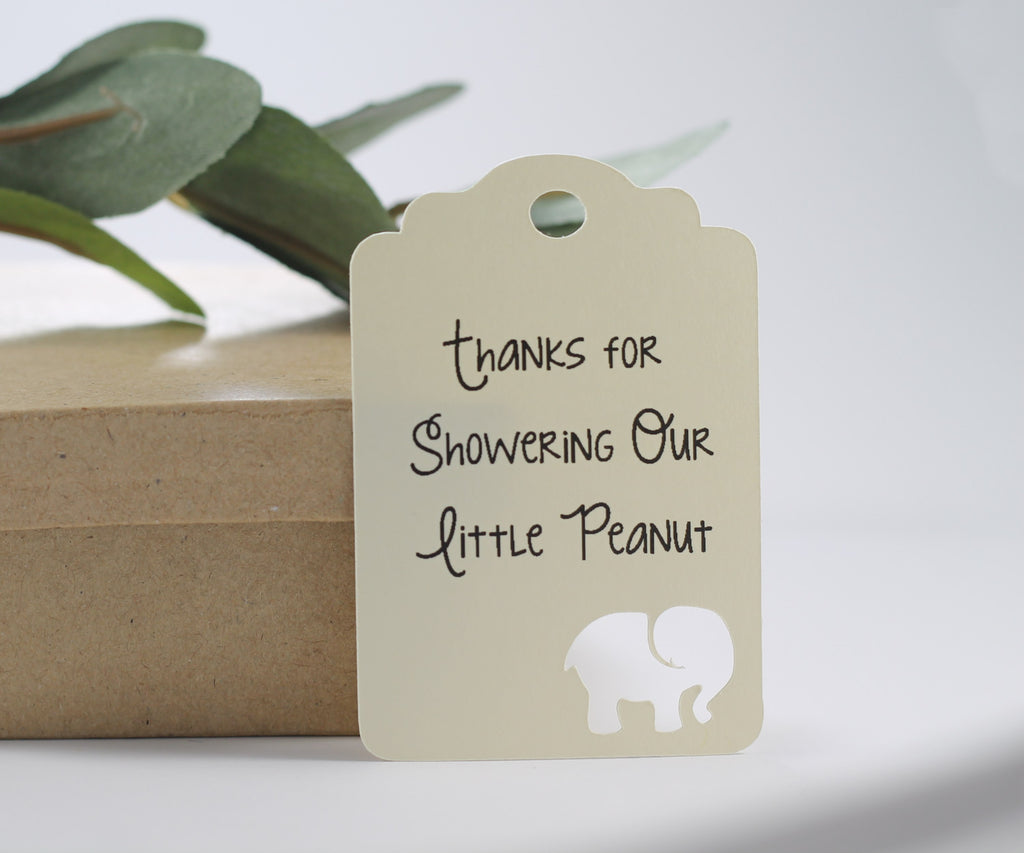 Baby Shower Tags with Elephant - Thanks for Showering Our Little Peanut - Cream - 20pc-Baby Shower Tags-The Paper Medley