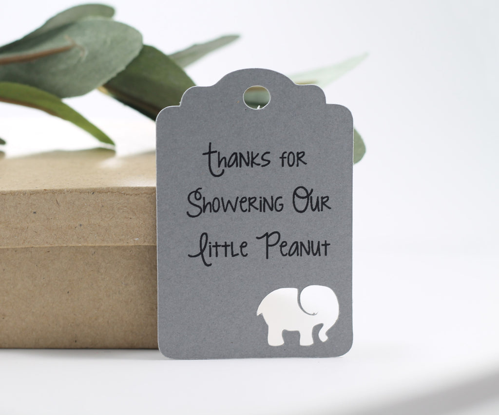 Baby Shower Tags with Elephant - Thanks for Showering Our Little Peanut - Grey - 20pc-Baby Shower Tags-The Paper Medley