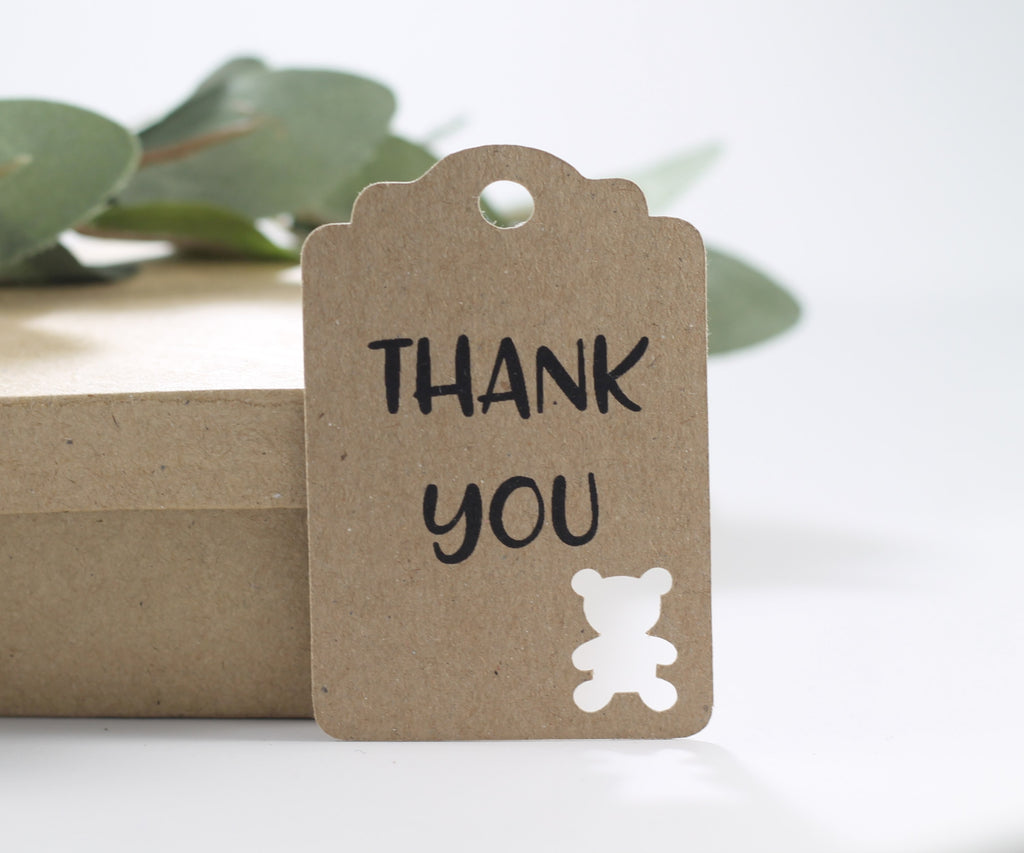Baby Shower Tags with Bear - Thank You - Kraft Brown - 20pc-Baby Shower Tags-The Paper Medley