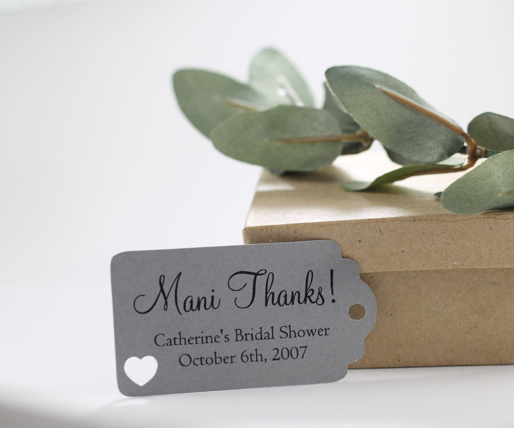 Bridal Shower Favor Tags - Mani Thanks - Grey - 20pc-Bridal Shower Tags-The Paper Medley