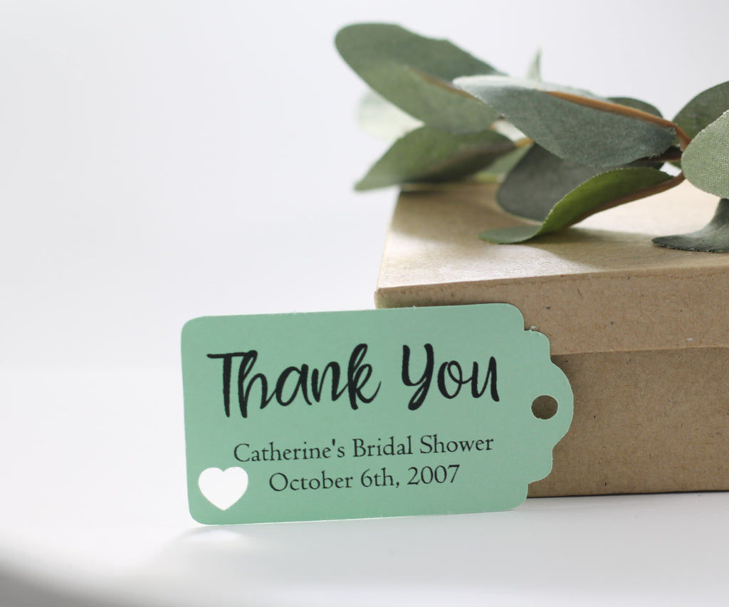 Small Personalized Wedding Tags - Thank You - Light Green - 20pc-Wedding Tags-The Paper Medley
