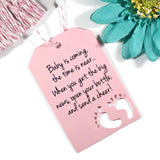 Baby Shower Tags with Feet with Feet - Baby is Coming Girl - Light Pink - 20pc-Baby Shower Tags-The Paper Medley