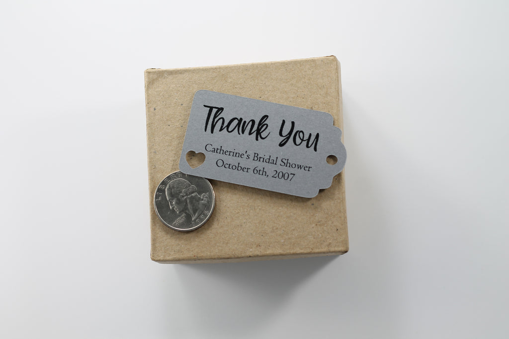 Small Personalized Wedding Tags - Thank You - Grey - 20pc-Wedding Tags-The Paper Medley