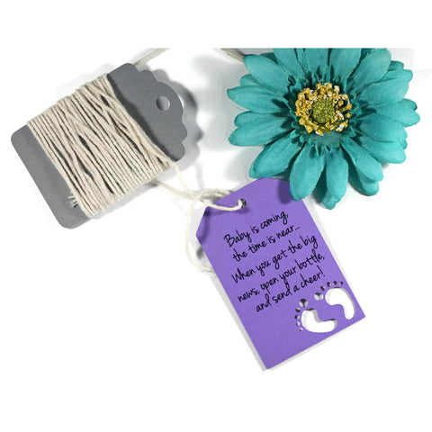 Baby is Coming - Gender Neutral Shower Tags with Feet in Purple (Set of 20) - The Paper Medley