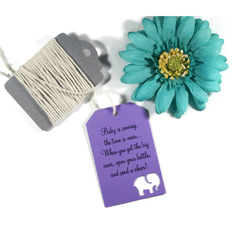 Open Your Bottle - Gender Neutral Shower Tags with Elephant in Purple (Set of 20) - The Paper Medley