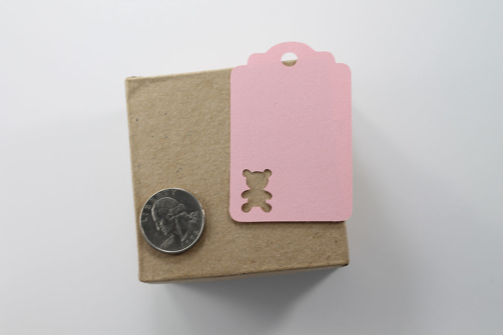 Custom Baby Shower Tags with Bear - Light Pink - 20pc-Baby Shower Tags-The Paper Medley