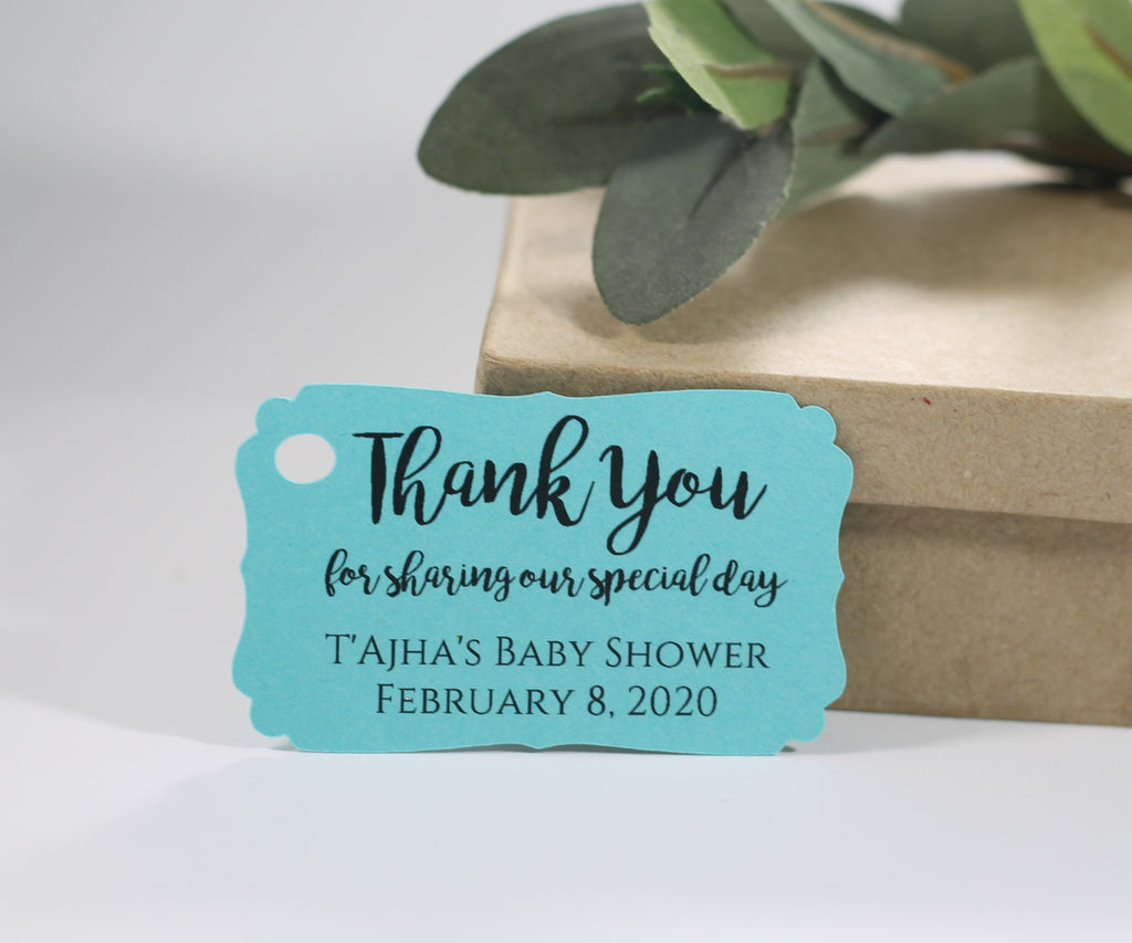 Personalized Wedding Tags  - Thank You for Sharing Our Special Day - Aqua - 20pc